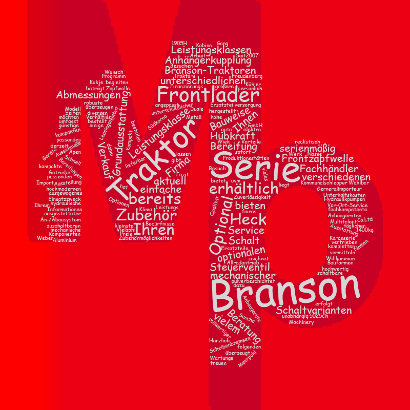 Branson Traktoren Wordcloud